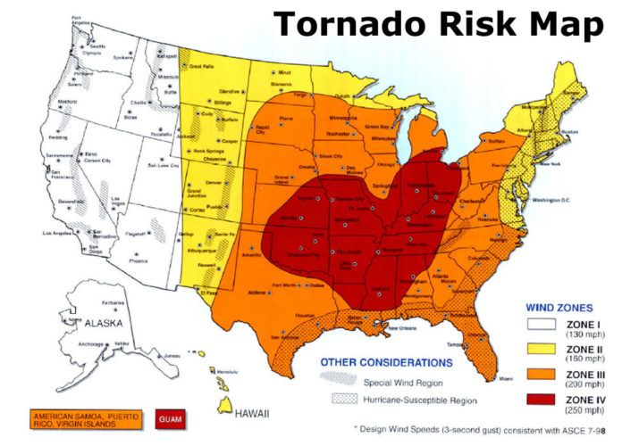 tornado risk map for survival